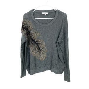 Milly Gray Metallic Leaf Detailed Sweater Large !